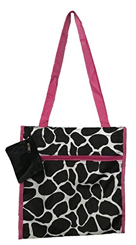 12-inch Travel Tote Bag | Shopping Tote by Unique Traveler (Giraffe Print-Pink Trim)