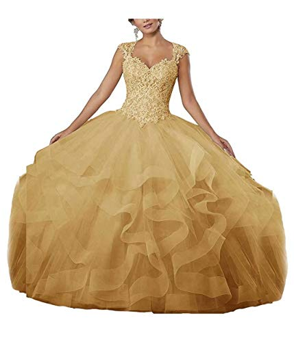 FJMM Sweetheart Ball Gown Ruffled Quinceanera Dress Cap Sleeves Lace Beaded Prom Gown for Party Yellow
