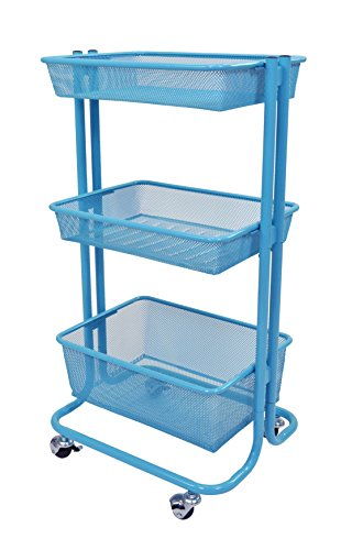 Home Kitchen Bedroom Storage Utility Cart (Blue) by Stand Up Desk Store
