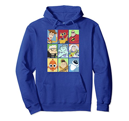 Unisex Disney Pixar Movie Characters Stack Up Boxes Graphic Hoodie Large Royal Blue