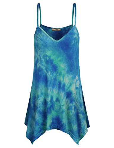 Cestyle Womens Tank Tops Loose Fit, Business Casual Clothes for Women Dressy V Neck Asymmetrical Tie Dye Country Style Cute Spaghetti Strap Cami Tunic Shirt Blouse Blue XX-Large