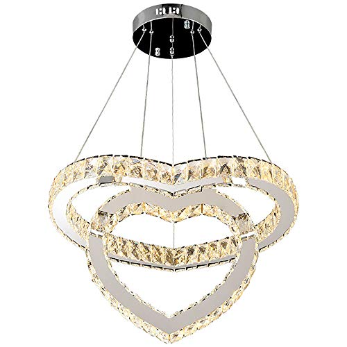 Amber Raindrop Chandelier - Heart-Shaped Crystal Modern LED Ceiling Fixtures Dining Room Pendant Lights Contemporary 2 Rings Adjustable Stainless Steel Chandelier(Remote Control stepless dimming)
