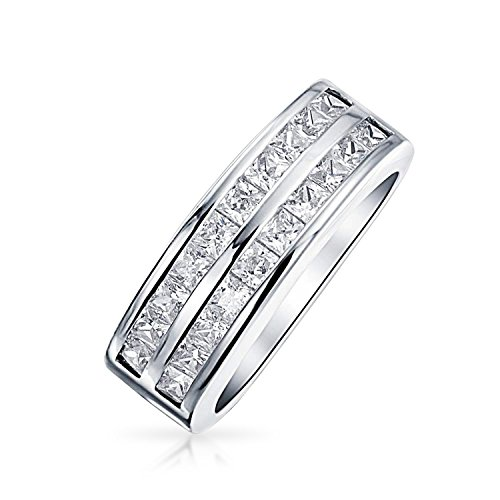 - Bling Jewelry Double Row Channel Set Princess Cut CZ Wedding Band Ring 925 Sterling Silver,Clear,7