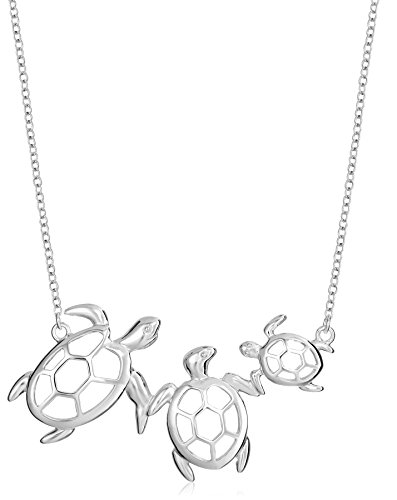 Sterling Silver Turtle Family Necklace, (Silver Turtle Necklace)