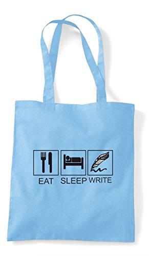 Activity Tiles Sky Eat Write Bag Blue Hobby Sleep Shopper Tote Funny E6EXxHwR