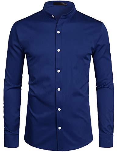 ZEROYAA Mens Hipster Solid Slim Fit Long Sleeve Mandarin Collar Dress Shirts ZLCL08 Navy Large