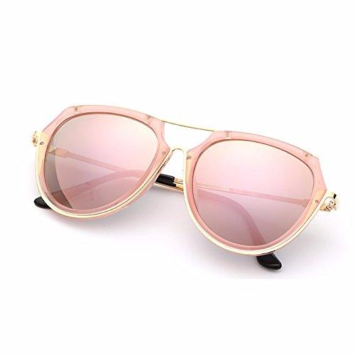 Rosa femenina XIAOGEGE de Gafas redonda alto de negro Gafas personalidad brillo sol de gafas cara UrnWr6