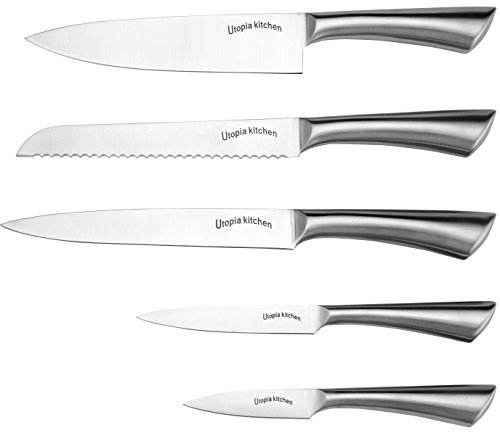 Premium Class Stainless Steel Kitchen 6 Piece Knives Set (5 Knives plus an Acrylic Stand) - by Utopia Kitchen 3 Made from 420 grade stainless steel Includes 8-inch chef knife with 2.5 mm blade thickness; 8-inch bread knife with 2.5 mm blade thickness; 8-inch carving knife with 2.5 mm blade thickness; 5-inch utility knife with 2.5 mm blade thickness; 3.5-inchparing knife with 2 mm blade thickness and an acrylic stand for convenient storing of the knives These knives are a solid one piece stainless steel design so you don't have to worry about handles falling off