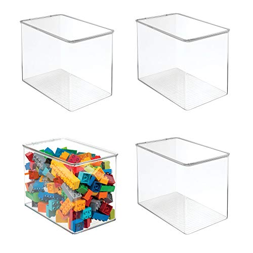 mDesign Stackable Closet Plastic Storage Bin Box with Lid - Container for Organizing Childs/Kids Toys, Action Figures, Crayons, Markers, Building Blocks, Puzzles, Crafts - 9 High, 4 Pack - Clear
