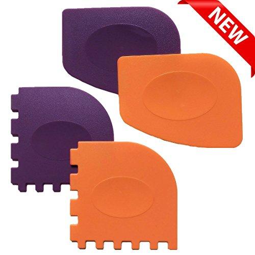 Pan Scrapers, Set of 4 Durable Pan Scrapers Grill Pan Scraper Cleaner Tools for all Pans Skillets, Cookware Baking Grill Pans (Orange, Purple)