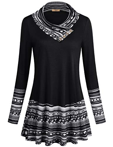 Miusey Vintage Sweatshirt,Junior Geometric Splicing Top Casual Cowl Neck Embellished with Buttons Stitching Color Long Sleeve A Line Flowy Curved Hemline Tunic Sweater Black -