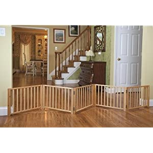 Four Paws Freestanding Walk Over Pet Gate Size: 17.5″ H x 48″ x 110″ W x 4.25″ D, Style: 5 Panel Click on image for further info.