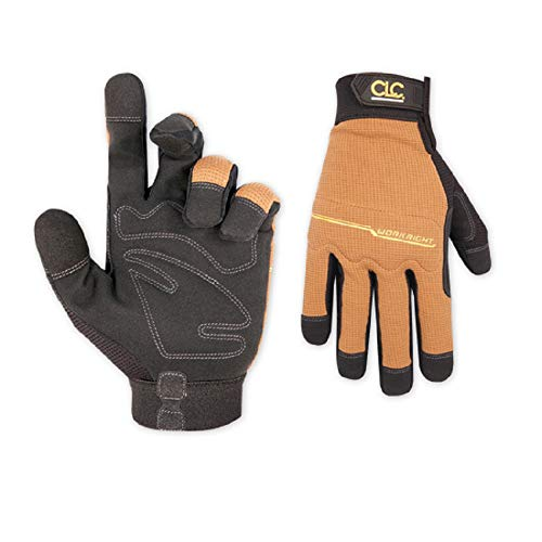 CLC Custom Leathercraft 124L Workright Flex Grip Work Gloves, Shrink Resistant, Improved Dexterity, Tough, Stretchable, Excellent Grip