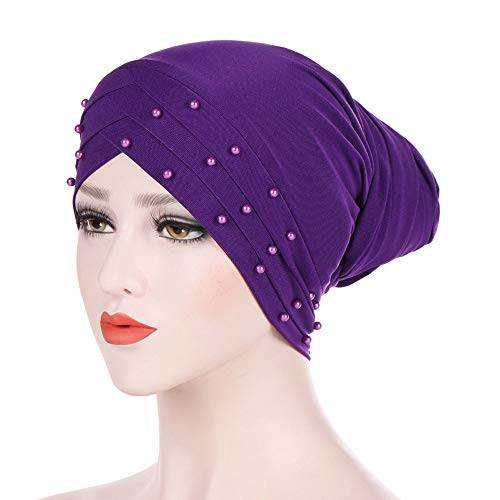 XOWRTE Women Winter Beading Muslim Ruffle Cancer Scarf Turban Wrap Cap Hat