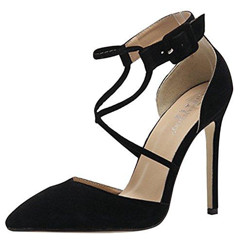 D2C Beauty Womens Pointed Toe Suede Cross Strap Stiletto High Heel Pumps Black QqkpzXkOYg