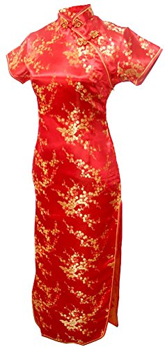 7Fairy Women's Sexy Vtg Red Floral Long Chinese Prom Dress Cheongsam Size 2 US