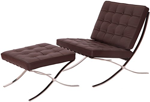 MLF Knoll Barcelona Chair and Ottoman Superior Craftsmanship Italian Leather, High Density Foam Cushions and Seamless Visible Corners Polished Stainless Steel Frame Riveted with Cowhide Saddle Straps - Leather Polished Frame