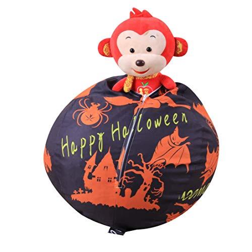 Halloween Clearance, Kids Stuffed Animal Toy Storage Bean Bag Halloween Pumpkin Soft Stripe Fabric Chair (Black)
