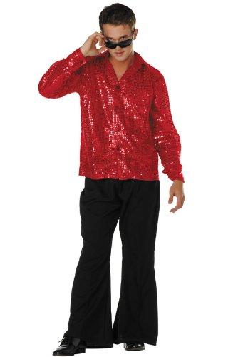 Shirt Disco Sequin - 70s Disco Inferno - 70s Sequin Red