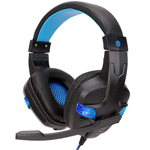 Price comparison product image Buybuybuy Gaming Headset with Mic, Noise Cancelling Over Ear Headphones with Mic,  LED Light Bass Surround Soft Memory Earmuffs for Computer Laptop Mac Nintendo Switch Games (blue)