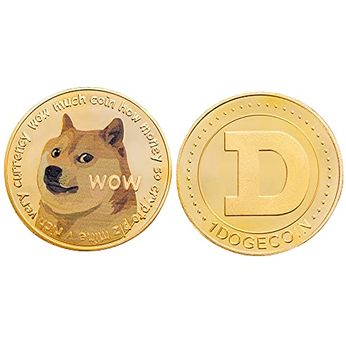J.CARP Dogecoin Commemorative Coin Gold Plated Doge Coin 2021 New Limited Edition Collectible Coin with Protective Case (Gold, 1PCS)