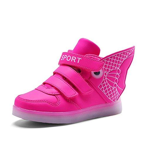 Platform Shoes With Goldfish (Led light shoes USB charging colorful lantern shoes shoes goldfish wings light shoes Pink 4 M US Big Kid)