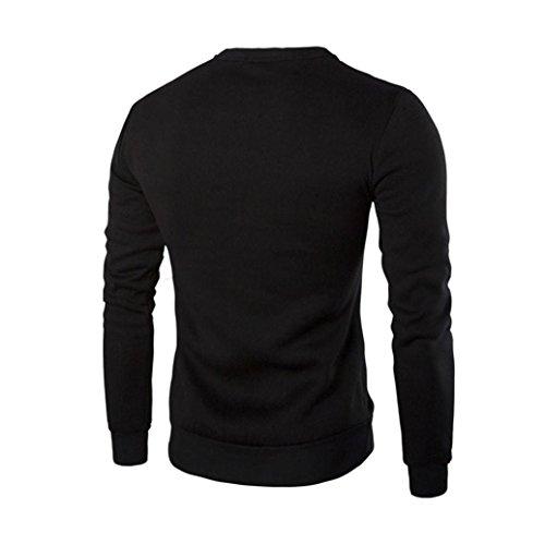 Jushye Hot Sale !!! Men's Sweater, Men Winter Warm Splicing Leather Sweatshirt Coat Jacket Outwear Lons Sleeve Patchwork Tops (Black, 2XL)