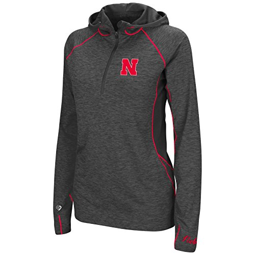 Colosseum Womens NCAA-Capo Ferro-1/4 Zip-Heathered Charcoal-Hoodie Pullover Windshirt-Nebraska Cornhuskers-Medium (Zip Pullover Windshirts)