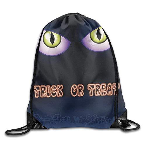 Halloween Trick Or Treat Cat Eye Pattern Drawstring Bag Backpack String Bags (17
