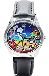 Rick and Morty Characters Black Leather Band WRIST WATCH