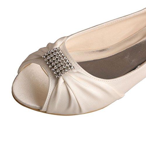 wedopus mw1361brillantes boda Peep Toe mujeres Ballet Flats hebilla satén zapatos de novia marfil