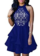 Cfanny Women's Sleeveless Lace Skater Cocktail Party Swing Dress