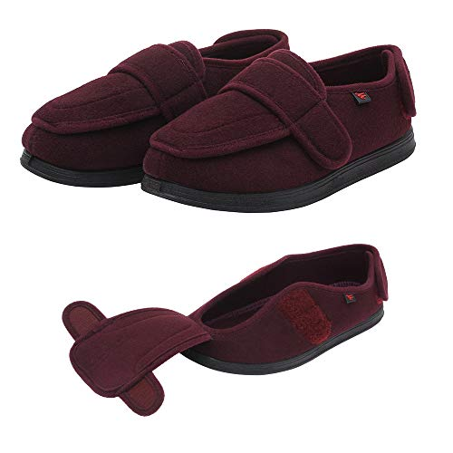 NEPPT Arthritis Feet Shoes Diabetes Women Shoes Bariatric Breathable Elderly Orthopedic Slippers Gout Footwear (US#9) Red