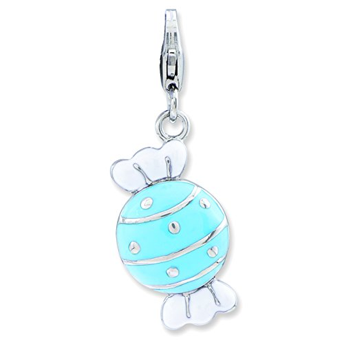 Amore La Vita Sterling Silver Enameled Piece of Candy in Wrapper Lobster Clasp Charm