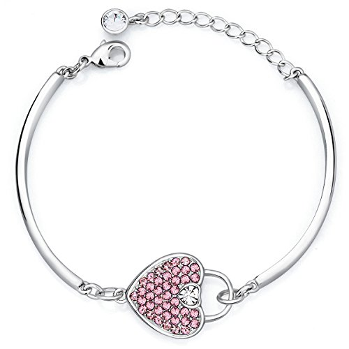 (FAPPAC Lock My Heart Bangle Bracelets Enriched with Swarovski Crystals - Pink )