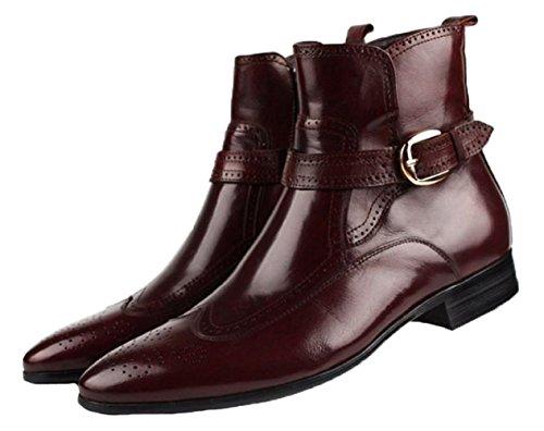 Santimon-Hombres Botines De Tacón Alto De Cuero Genuino Zapatos De Ocio Causales Zapatos Oxford Café