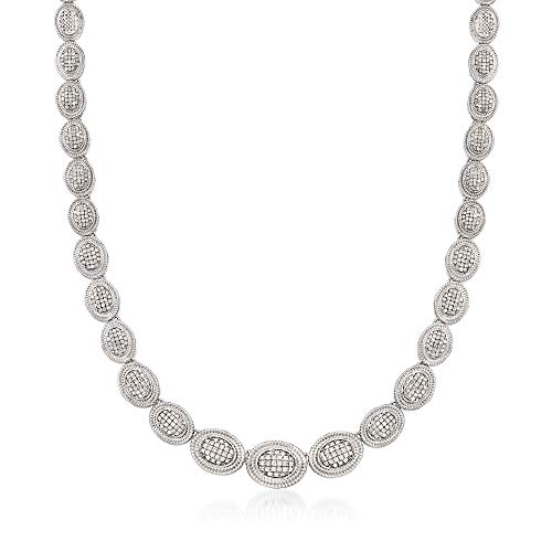 Ross-Simons 2.00 ct. t.w. Pave Diamond Graduated Oval Necklace in Sterling Silver (Silver Pave Necklace Diamond)