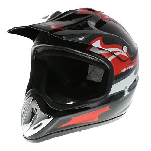 818 H351 Off-Road Motocross Helmet (Black/Red, XX-Large)