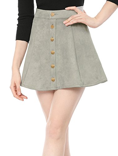 Allegra K Women's Faux Suede Single Breasted Front Button Down Short Mini A-Line Skirt L Gray ()