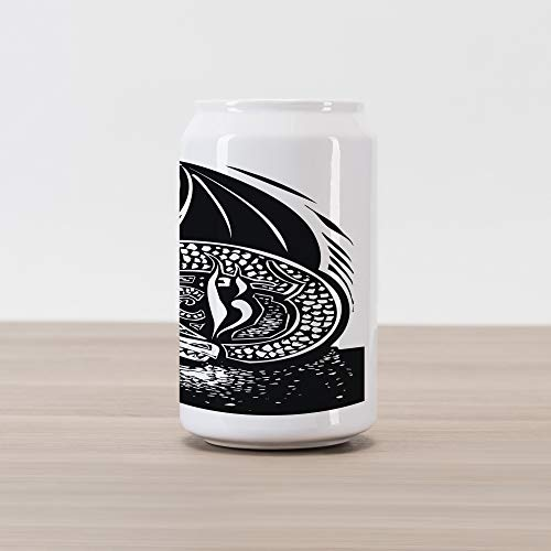 Ambesonne Dragon Cola Can Shape Piggy Bank, Shadded Skin Dragon Curled up Under Long Wings Digital Sketch Illustration, Ceramic Cola Shaped Coin Box Money Bank for Cash Saving, Black and White