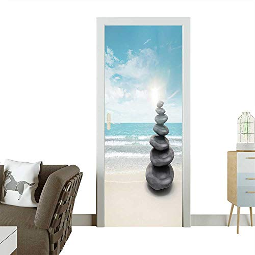 3D Photo Door Murals Pebble Stones on Beach Easy to Clean and Apply W32 x H80 INCH (Zodiac Pebble)