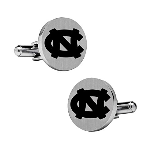 North Carolina Tar Heels Cufflinks Stainless Steel 18mm Round with Bullet Back and Brushed Surface. Collegiate Cufflinks. Top is Approximately the Size of a -