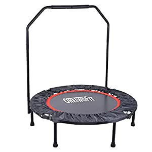 """OneTwoFit 40"""" Foldable Fitness Mini Trampoline Durable & Safety Bungee Rebounder with Stable Handle for Adults or Kids OT017"""