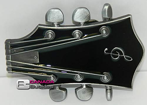 Black Enamel Guitar Head Design New Belt Buckle for Belts by Canada Buckles ~ Ships from Cornwall Canada Ontario