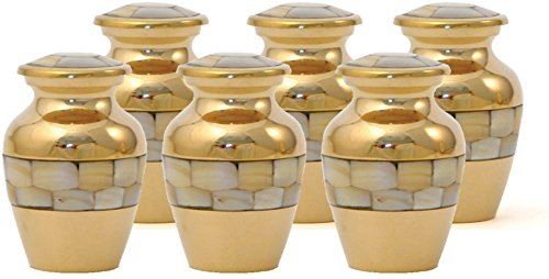 Hand Crafted Brass Elite Memorial Urn - Mother of Pearl - Set of 6 Keepsake Urns - Bundle Includes Liberty polishing (Polishing Mother Of Pearl)