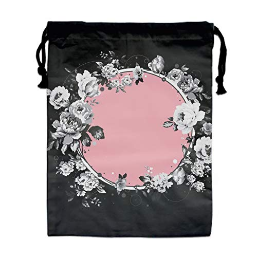Circle Flower Drawstring Pouches Candy Jewelry Party Wedding Favor Present Bags 15.75/11.8'' by BABBY