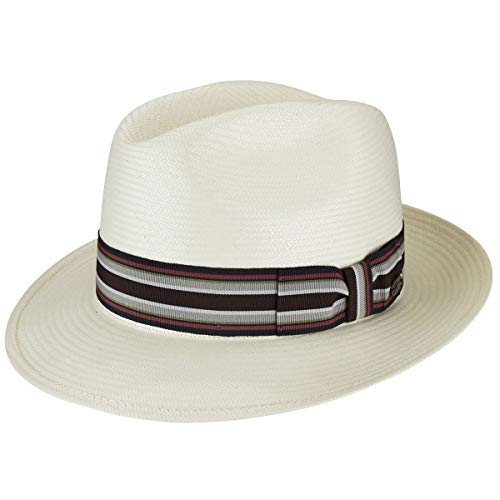 Bailey of Hollywood Men's Creel Straw Fedora Trilby Hat with Striped Band, Natural/Preppy, M