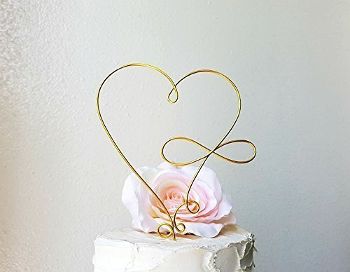 Modern Wedding Cakes - INFINITY HEART Wedding Cake Topper in Gold Finish