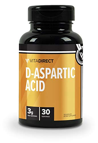 VitaDirect Premium D-Aspartic Acid (DAA) Pills - Supplement for Men, 750 mg, 120 Vegetarian Pills, High Quality Supplements, Made in The USA