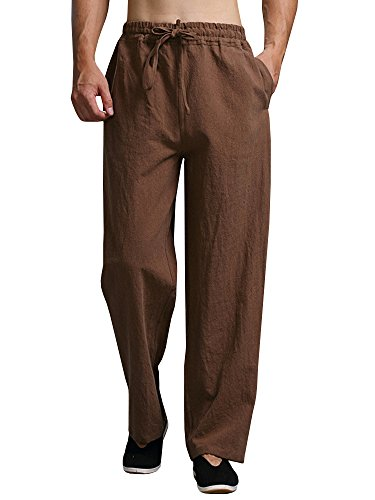 Mens Linen Pants Beach Casual Loose Fit Work Elastic Waist Drawstring Golf Cargo Trousers with Pockets Brown